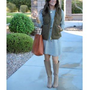 Grey Sweatshirt Style Drawstring Long Sleeve Dress